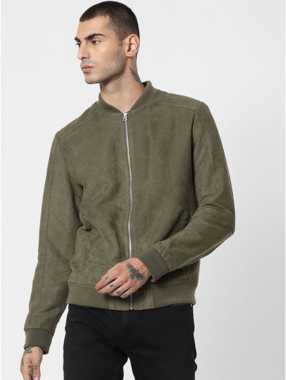 Green Perforated Suede Bomber Jacket
