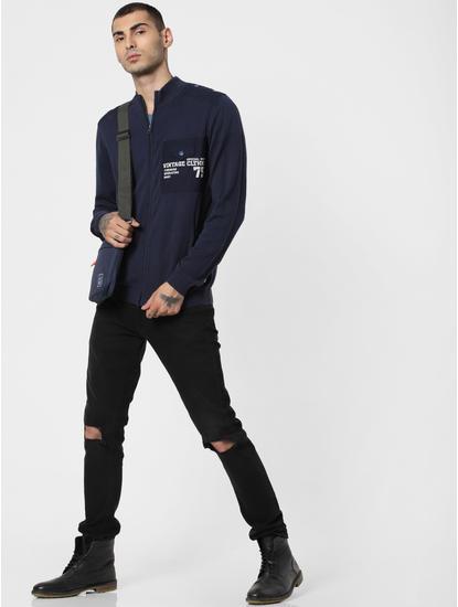 Navy Blue High Neck Zip Up Cardigan