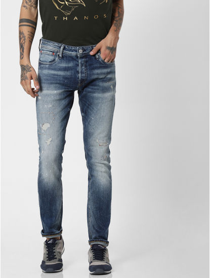 Blue Low Rise Distressed Ben Skinny Fit Jeans