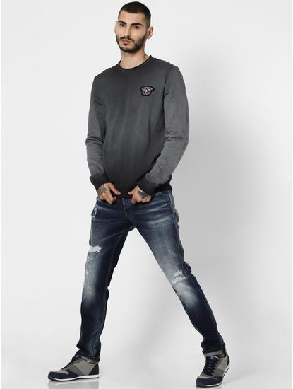 Black Faded Logo Print Sweatshirt