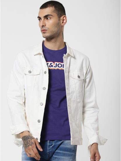 Purple Logo Print Crew Neck T-Shirt