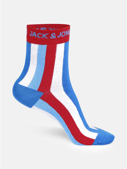 Blue Striped Mid Calf Length Socks