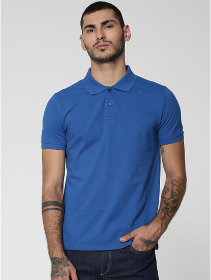 Blue Polo Neck T-Shirt
