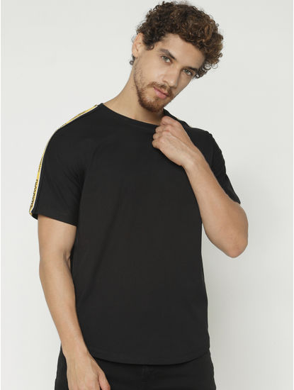 Black Tape Detail Crew Neck T-shirt