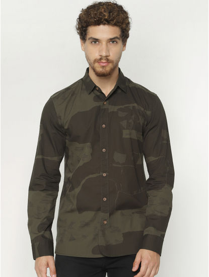 Green Camo Print Full Sleeves Shirt