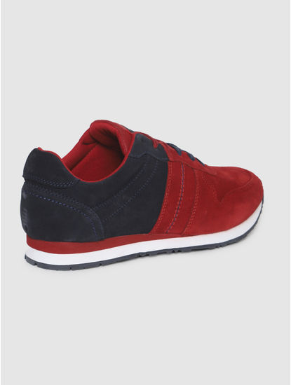 Red Colourblocked Suede Sneakers