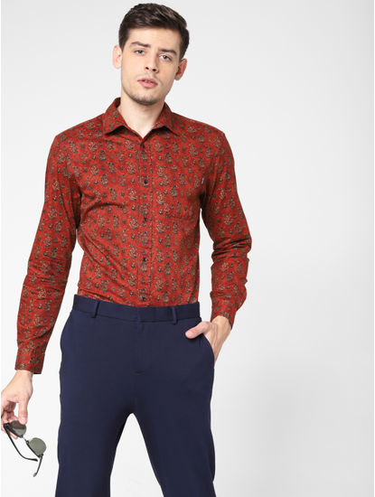 Brick Red All Over Print Shirt