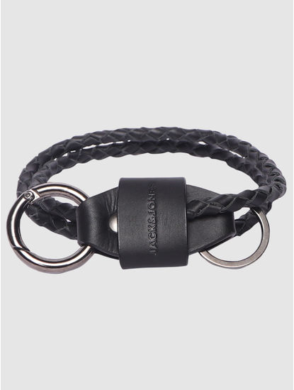 Black Braided Leather Lanyard