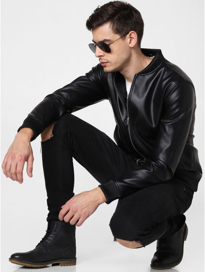 Black Embossed Pu Bomber Jacket