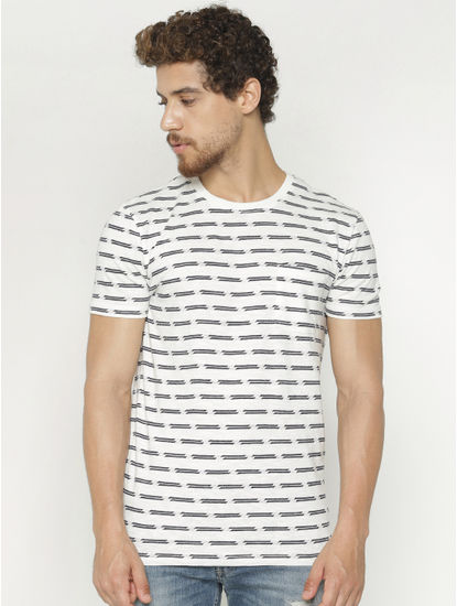 White All Over Print Crew Neck T-shirt