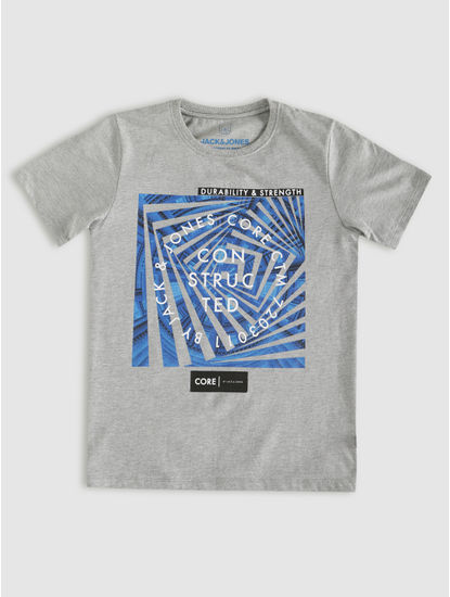 Junior Grey Graphic Print Crew Neck T-shirt