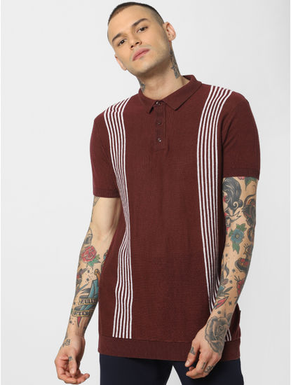 Dark Brown Striped Polo Neck T-shirt