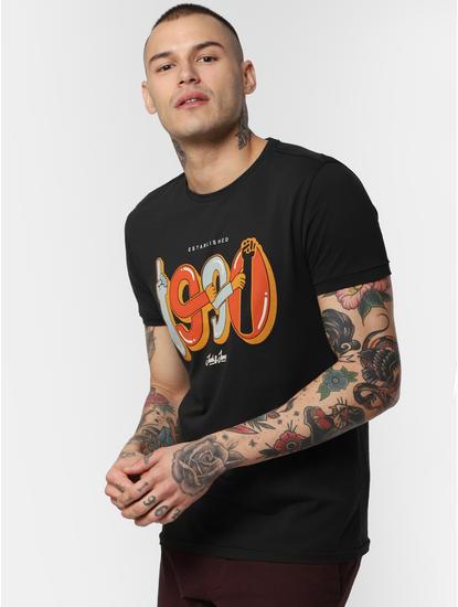 Black Typographic Print Crew Neck T-Shirt