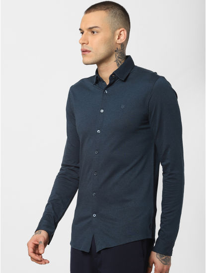 Dark Blue Jersey Full Sleeves Shirt
