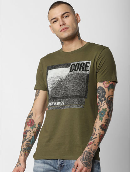Green Patch Print Crew Neck T-Shirt