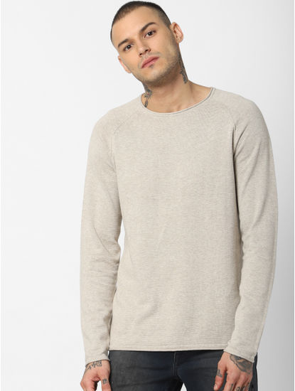 Cream Crew Neck Pullover