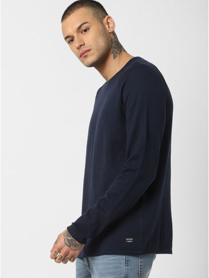 Navy Blue Crew Neck Pullover