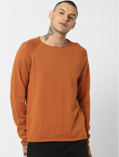 Brown Crew Neck Pullover