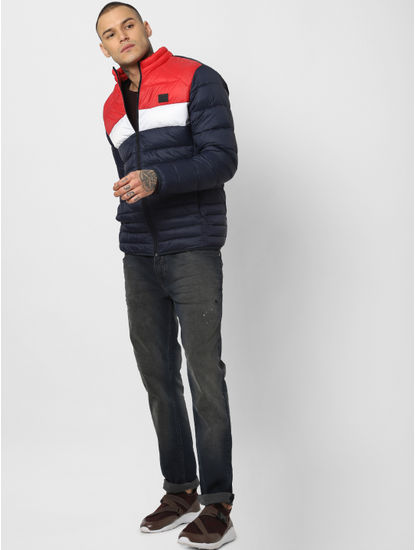 Red Colourblocked Puffer Jacket