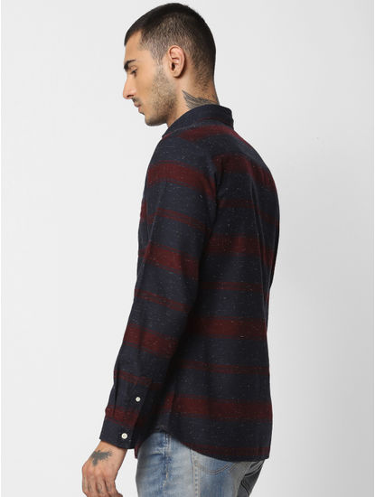 Red Striped Printed Full Sleeves Shirt