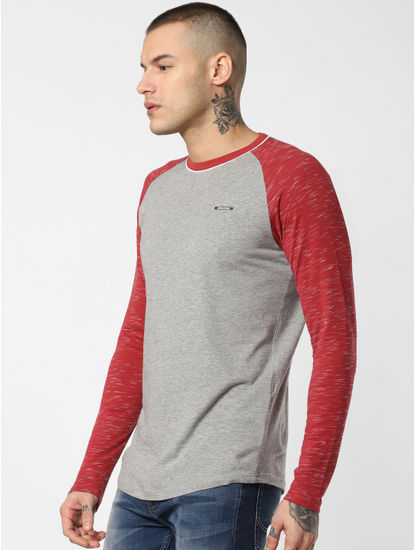 Grey Colourblocked Crew Neck T-shirt