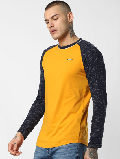 Yellow Colourblocked Crew Neck T-shirt