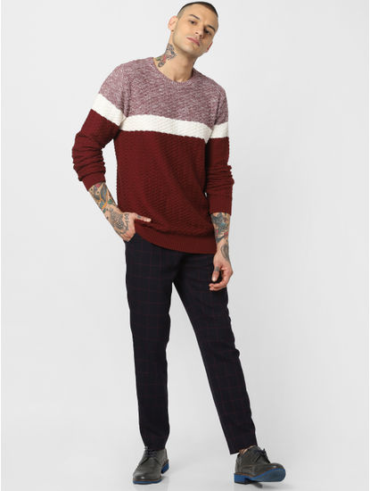 Maroon Colourblocked Textured Pullover