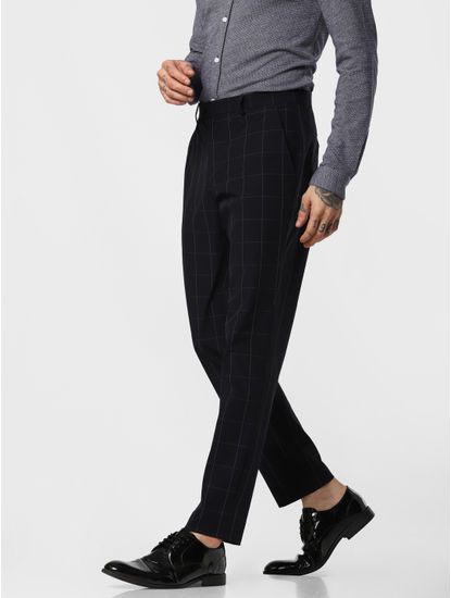 Navy Blue Check Formal Trousers