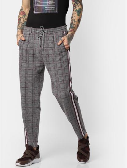 Burgundy Check Drawstring Pants
