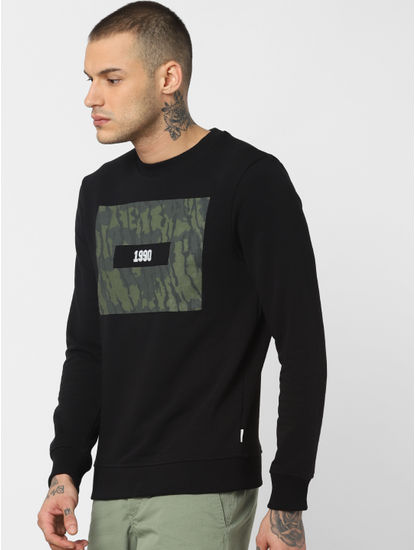 Black Camo Patch Print Sweatshirt