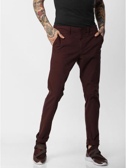 Burgundy Slim Fit Pants