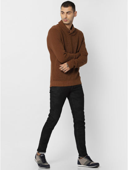 Brown Textured Shawl Neck Pullover
