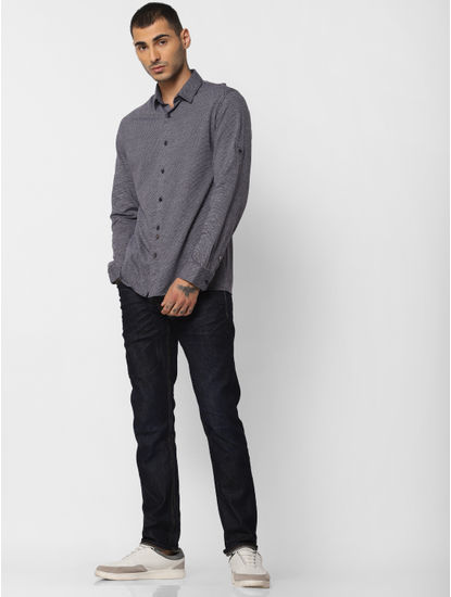 Navy Blue Jacquard Full Sleeves Shirt