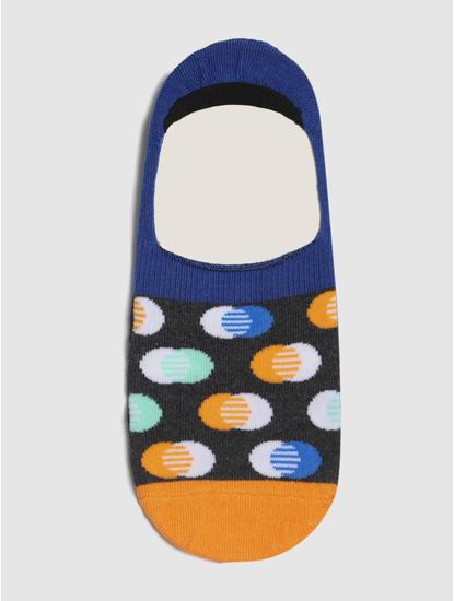 Blue Colourblocked No Show Socks