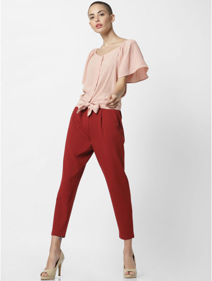 Red Mid Rise Drawstring Pants