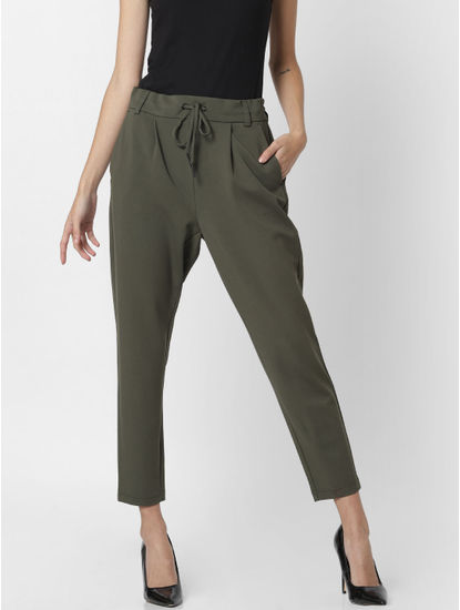 Green Mid Rise Drawstring Pants