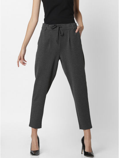 Grey Mid Rise Drawstring Pants