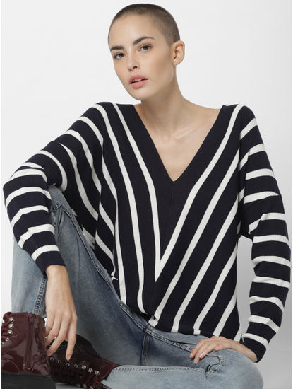Navy Blue Striped Loose Fit Pullover