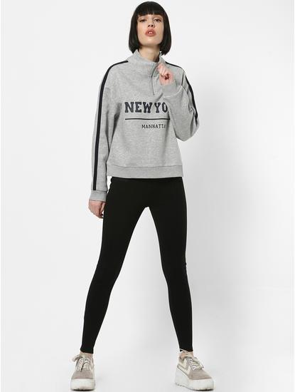 Grey Tape Detail Zipped Sweatshirt