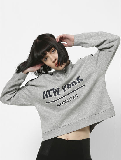Grey Tape Detail Zipped Sweatshirt