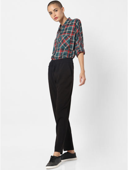 Black Mid Rise Drawstring Pants