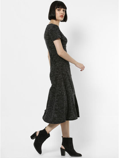 Dark Grey Button Down Midi Dress