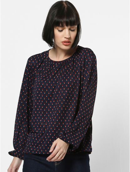 Navy Blue All Over Print Top