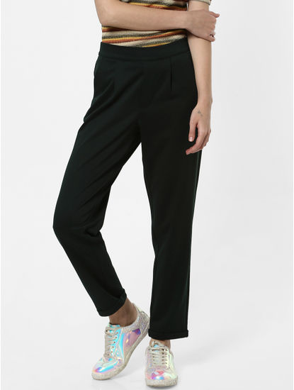 Dark Green Mid Rise Pants
