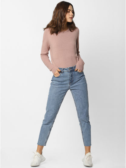 Blue High Rise Washed Straight Fit Jeans