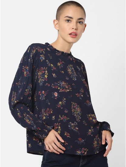 Navy Blue Floral Print Top