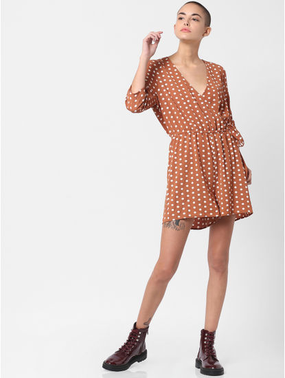 Brown Polka Dot Print Playsuit