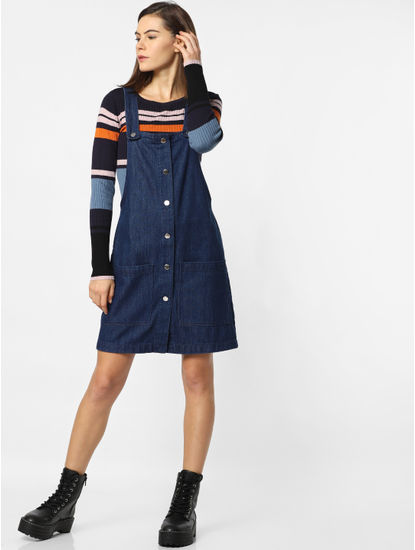 Blue Button Down Denim Dungaree