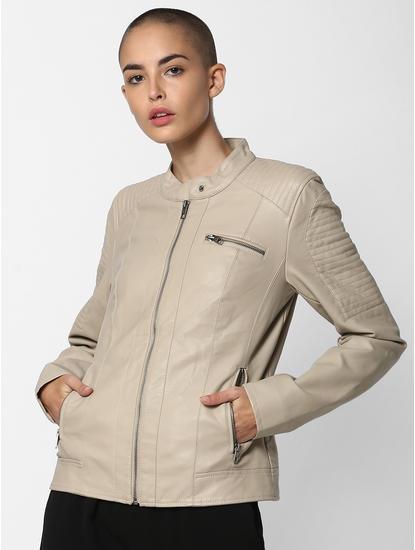 Dark Beige Faux Leather Jacket