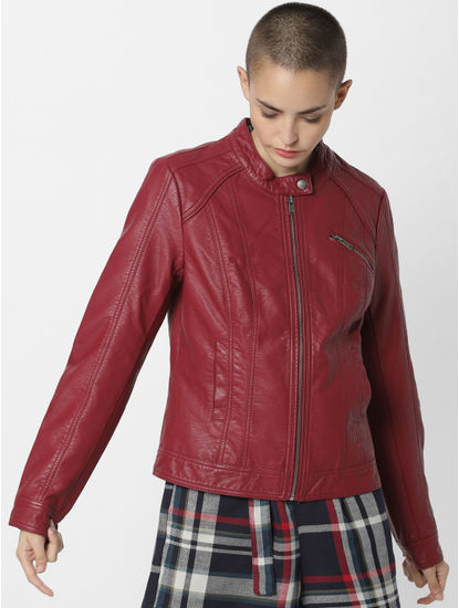Brick Red Faux Leather Jacket